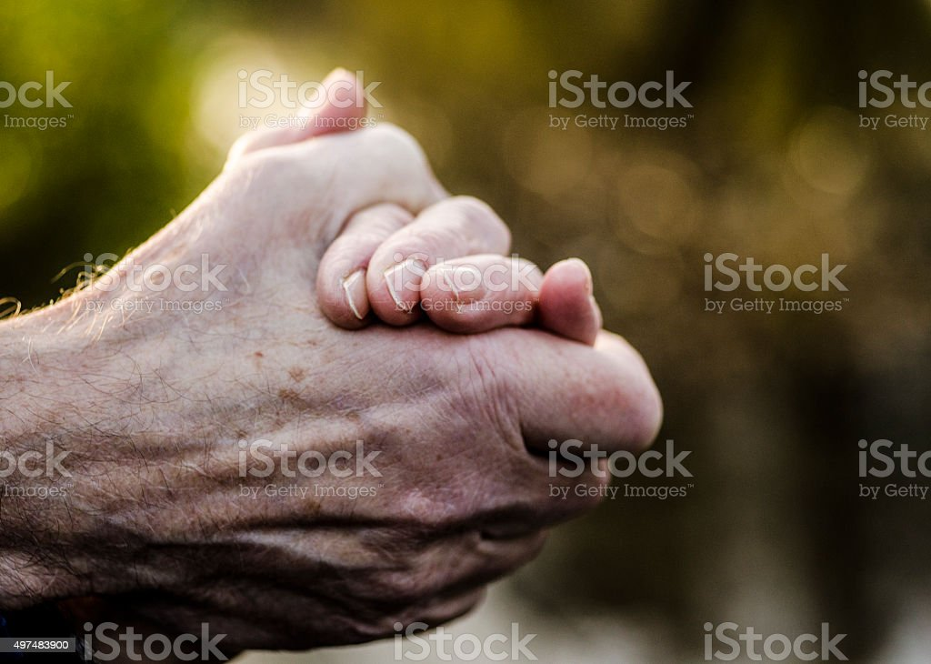 Senior married couple holding hands in nature closeup stock photo