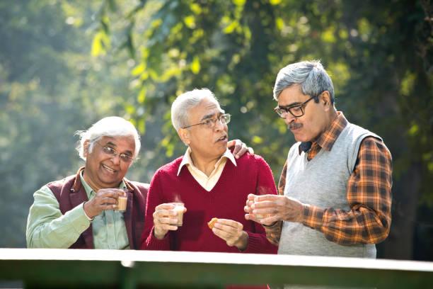 Senior men enjoying hot tea at park stock photo