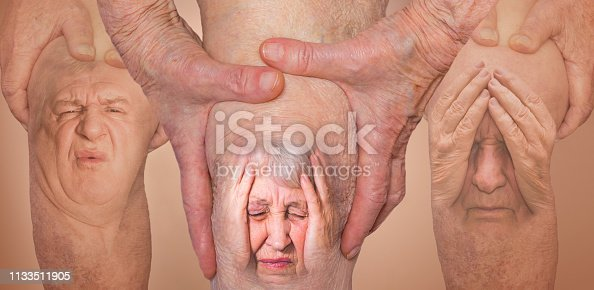Senior men and woman holding the knee with pain. Collage. Concept of abstract pain and despair. The elderly pensioner and problems. Old age and illnesses. 86-year-old Caucasian model. healthcare concepts