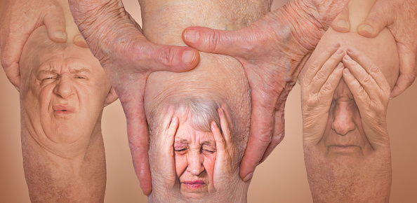 istock Senior men holding the knee with pain. Collage. Concept of abstract pain and despair. 1133511905