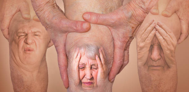 senior men holding the knee with pain. collage. concept of abstract pain and despair. - ginocchio foto e immagini stock