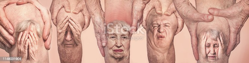1133511905istockphoto Senior men holding the knee with pain. Collage. Concept of abstract pain and despair. 1148031904