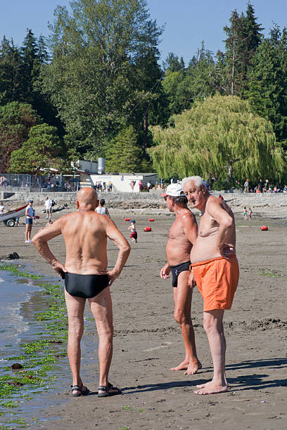 b095670d09 Senior Men on Second Beach in Stanley Park, Vancouver, Canada stock photo