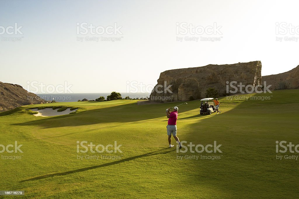 Senior Men Playing Golf royalty-free stock photo