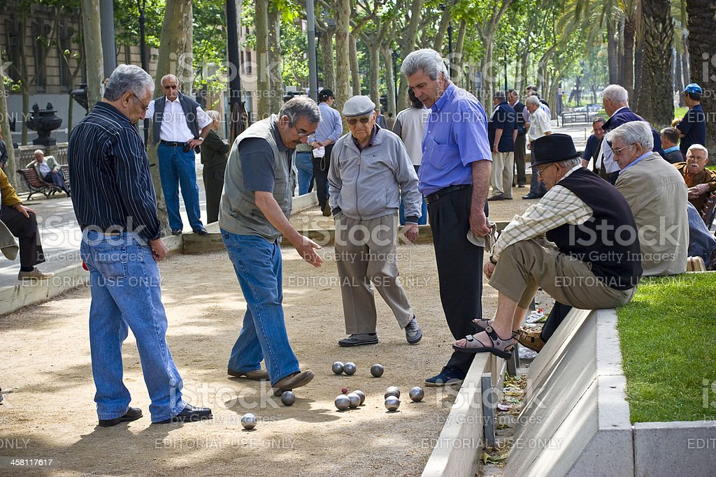 Senior men, playing Petanque game stock photo