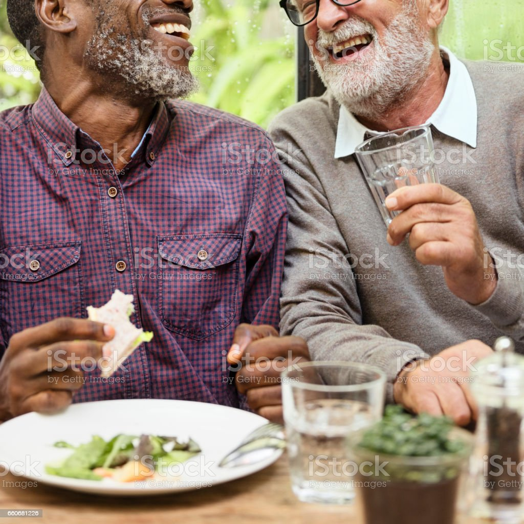 Senior Men Relax Lifestyle Dining Concept stock photo
