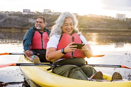 Senior Mexican Couple Kayaking