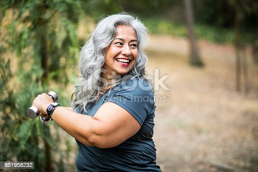 istock Senior Mexican Woman Working Out 851958232