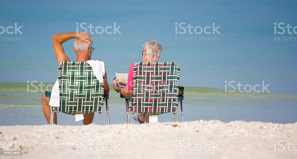Senior Moment Couple on Beach in Florida stock photo