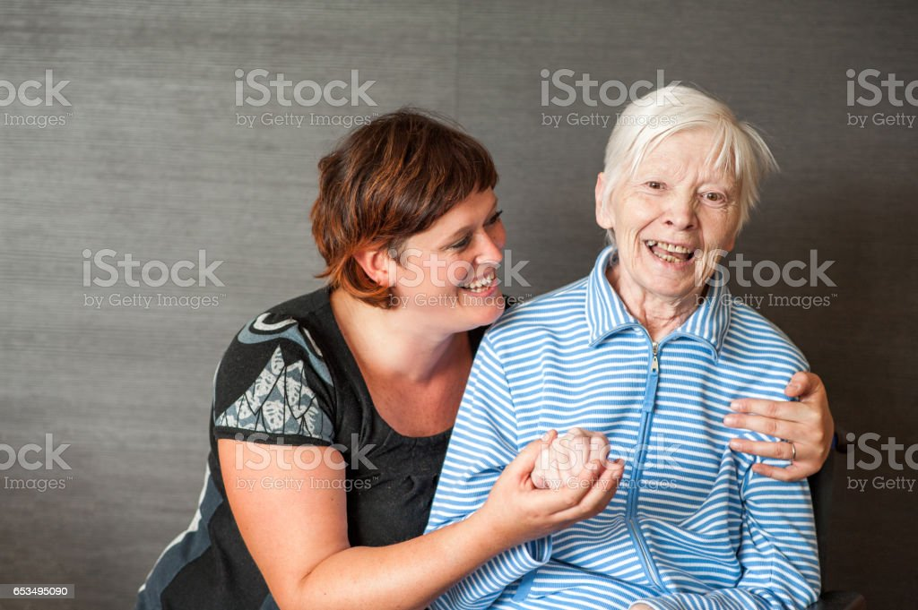 Senior Mother With Adult Daughter - Portrait stock photo
