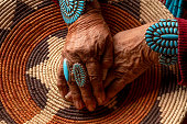 istock Senior Native American Navajo Woman Wearing Traditional Turquiose Jewelry 1069425130