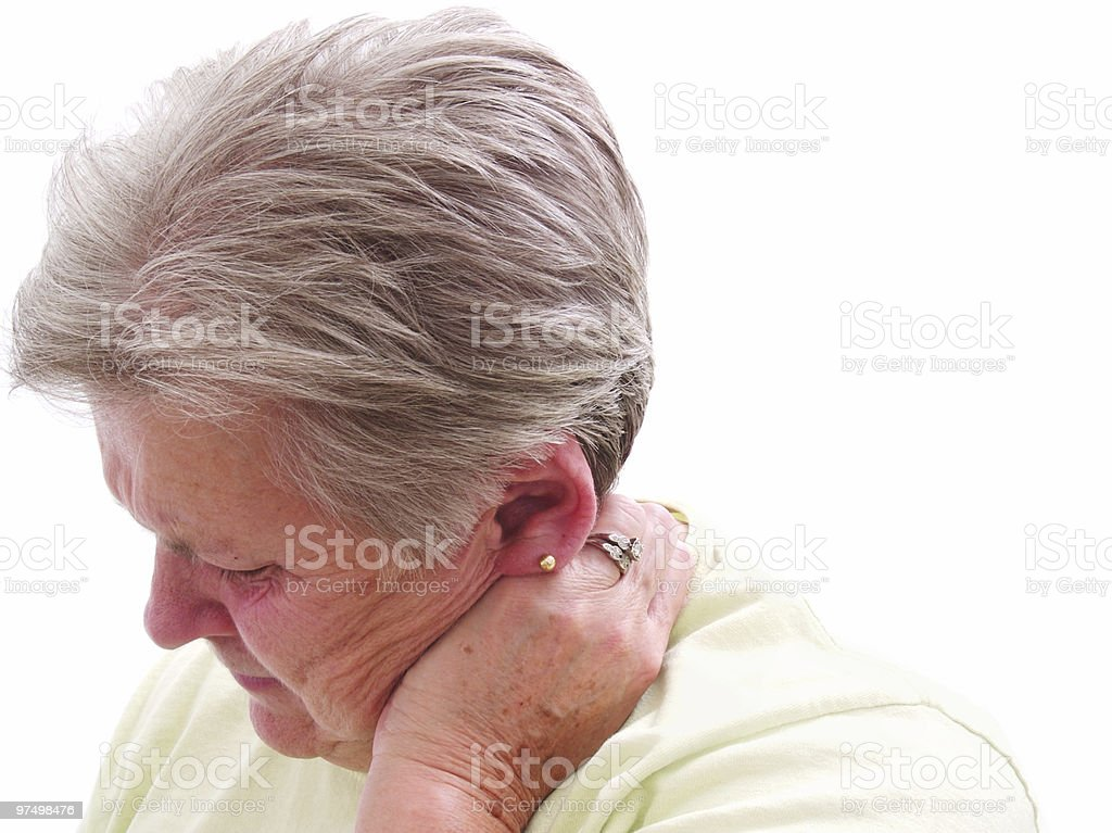Senior Neck Pain royalty-free stock photo