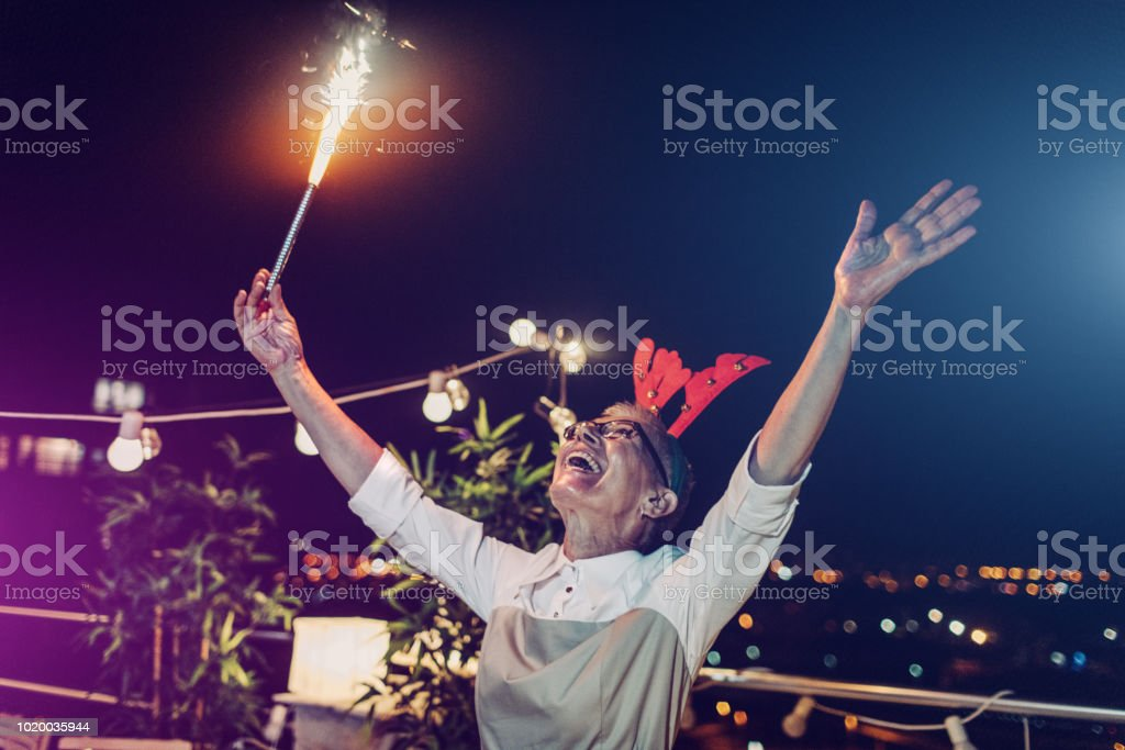 Senior New Year Rooftop Party Stock Photo - Download Image ...