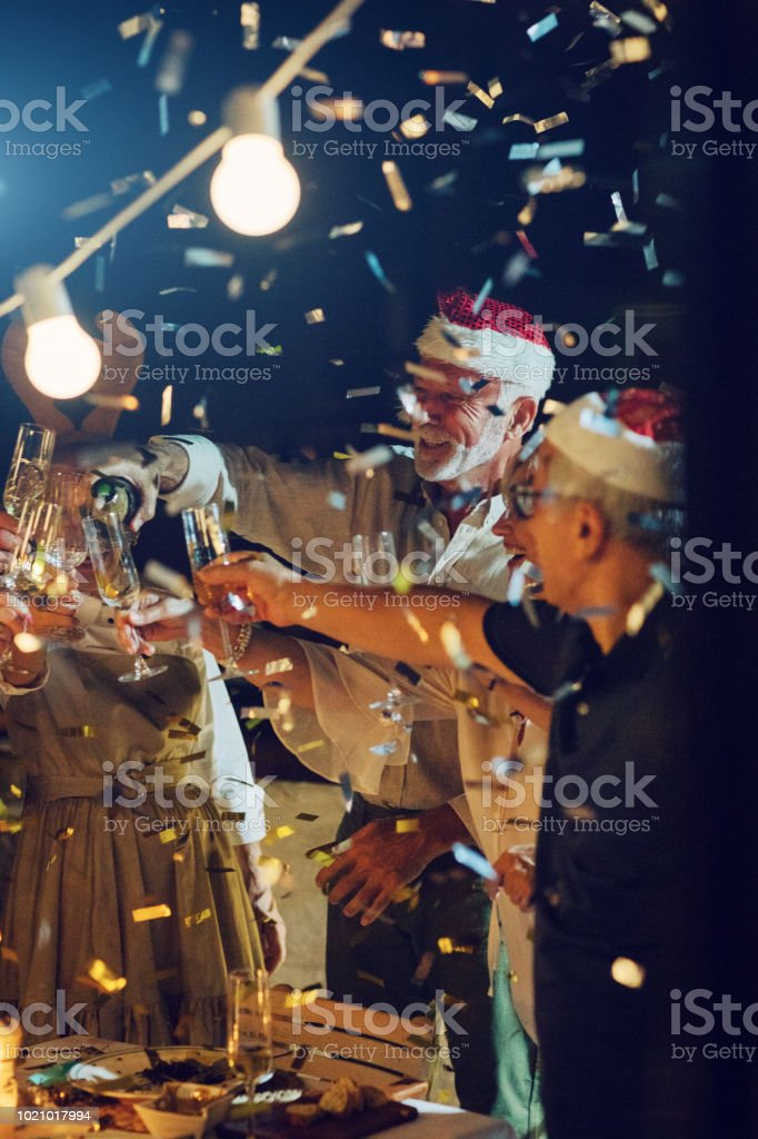 Senior New Year Rooftop Party stock photo