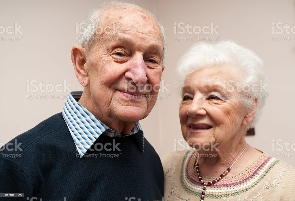 Senior octogenarian couple (in their eighties) stock photo