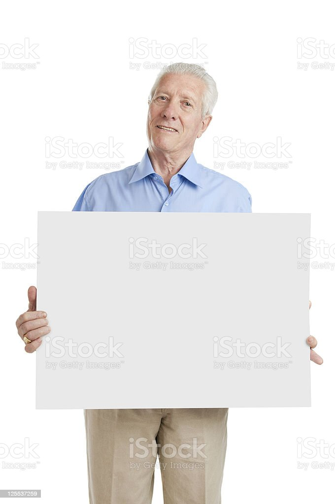 Senior old man with sign royalty-free stock photo
