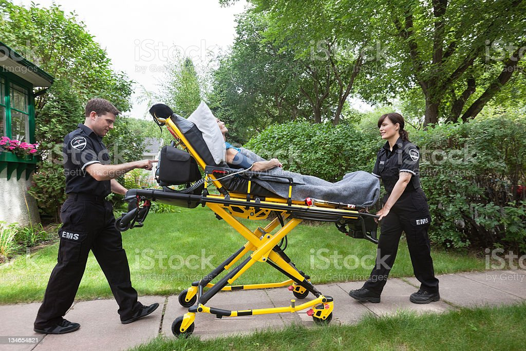 Senior on Ambulance Stretcher stock photo