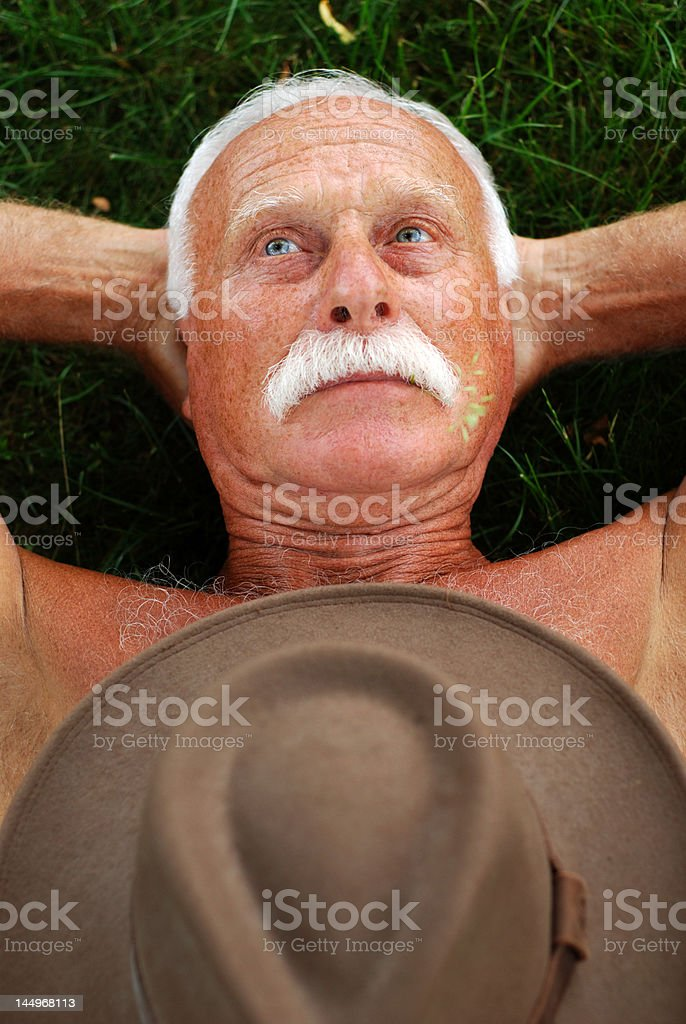 senior on grass royalty-free stock photo