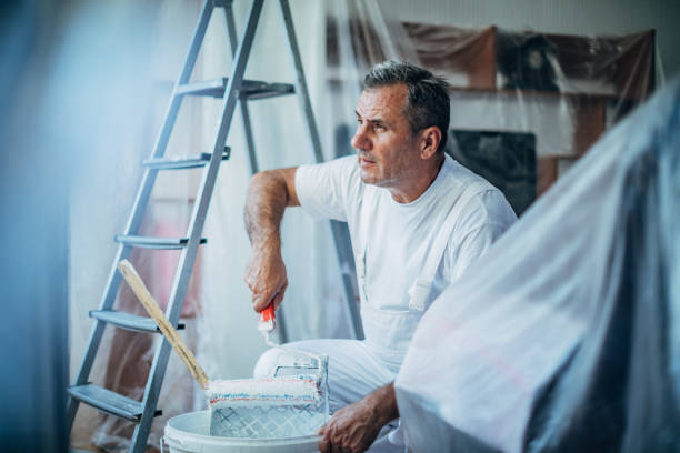 Senior painter painting living room stock photo