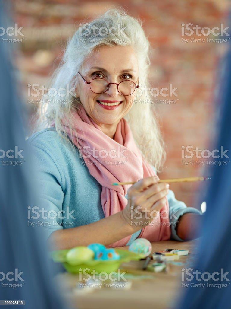 Senior painter stock photo