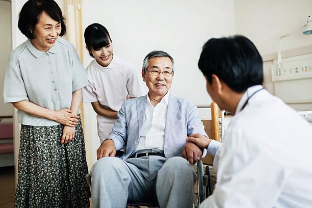 車椅子の老人患者のご家族および医師 - 高齢者介護 ストックフォトと画像