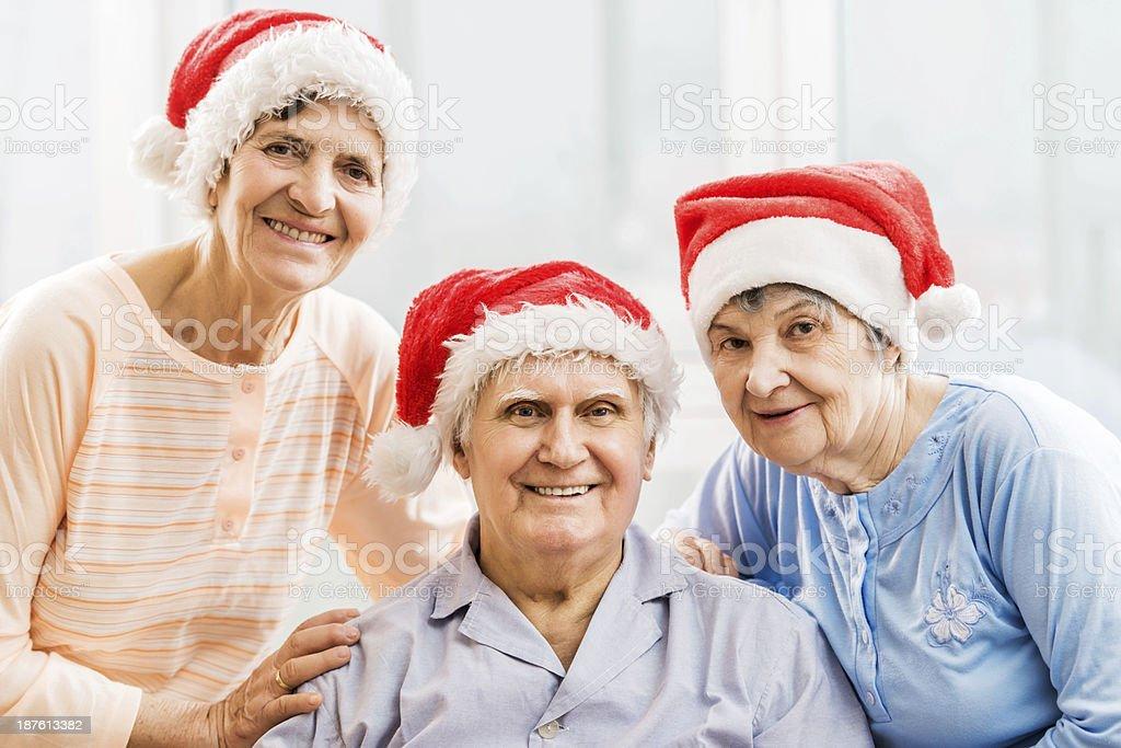 Senior people celebrating Christmas. royalty-free stock photo