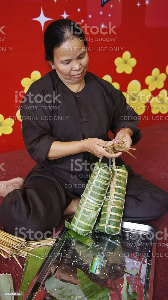 Senior people make traditional cake stock photo