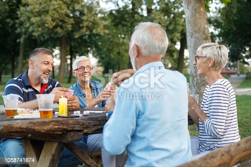 Group of active senior people playing cards game during a picnic day.