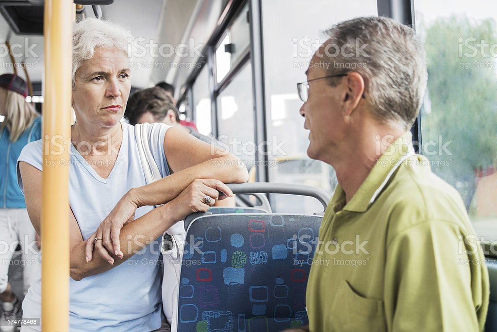 Senior people travelling by bus. royalty-free stock photo