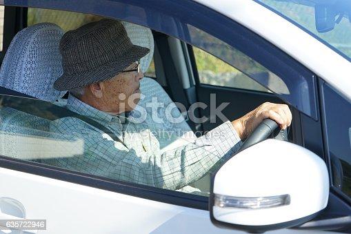 istock Senior person driving a car 635722946