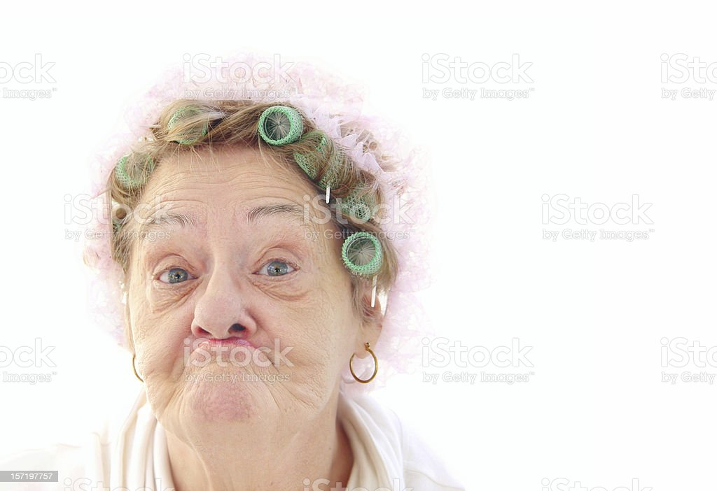 senior pucker face stock photo