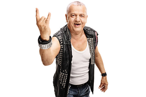 senior punker making a hardcore gesture - punk music stock photos and pictures