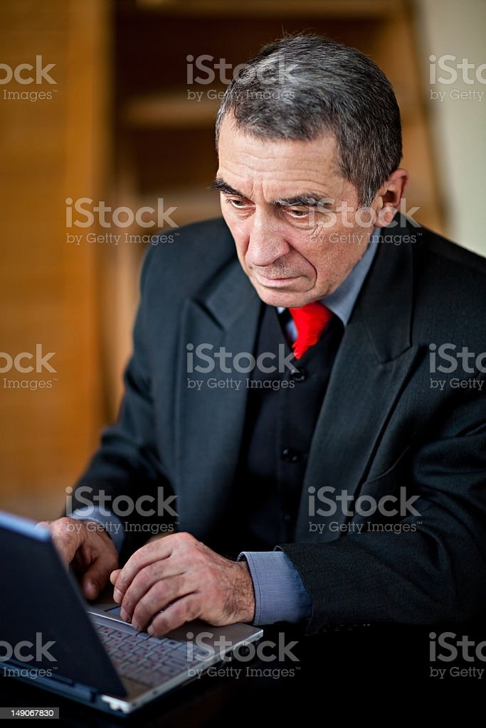 Senior Researching Online royalty-free stock photo