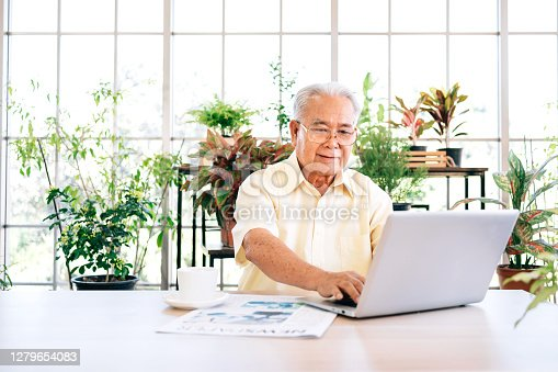 A senior retired old man dressed in casual style is using a laptop and smiling while sitting at home with indoor garden in the background. Retirement hobby and lifestyle. Grandfather work from home.
