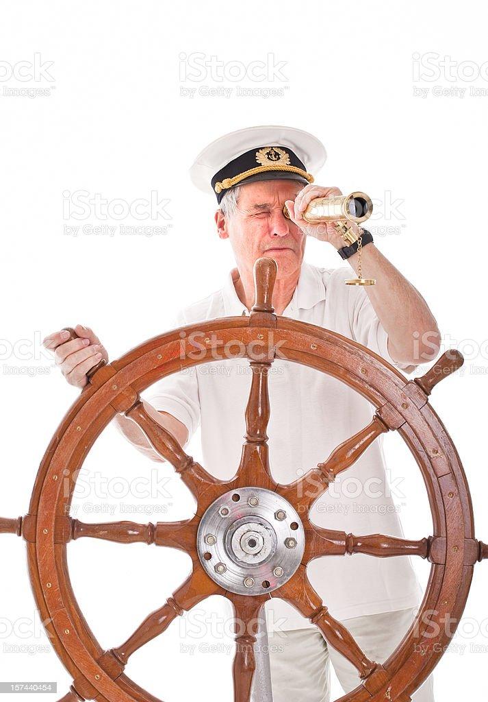 Senior sailor with telescope stock photo