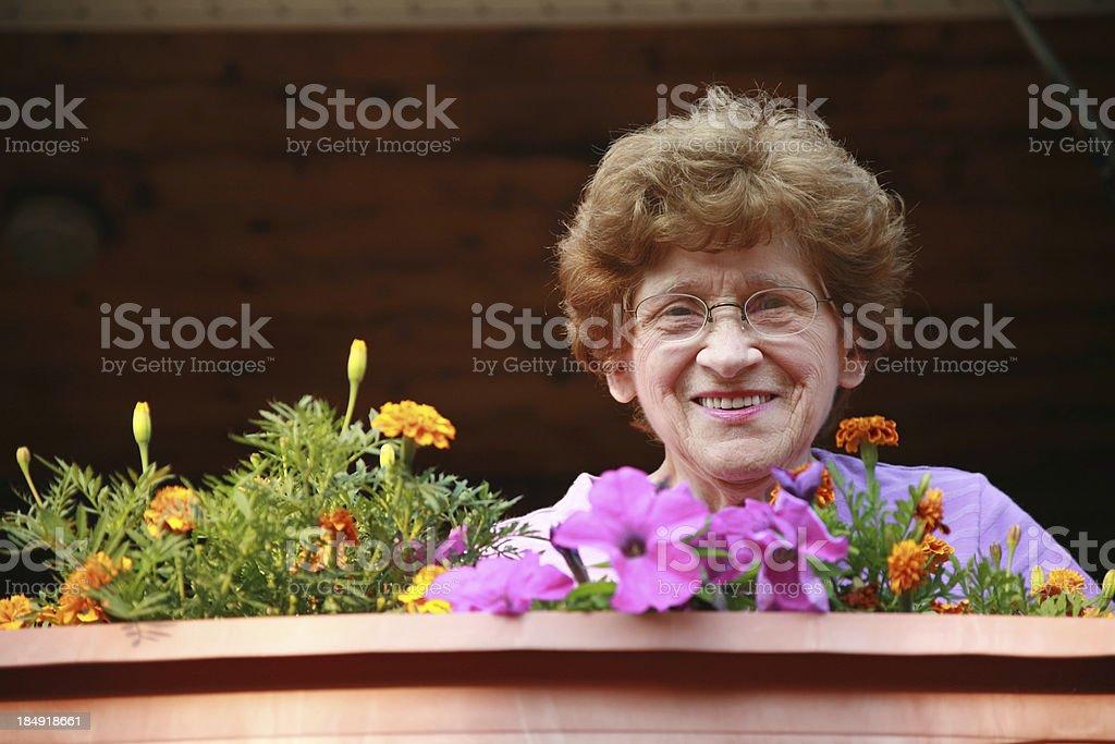 Senior Series: Porch Flowers royalty-free stock photo