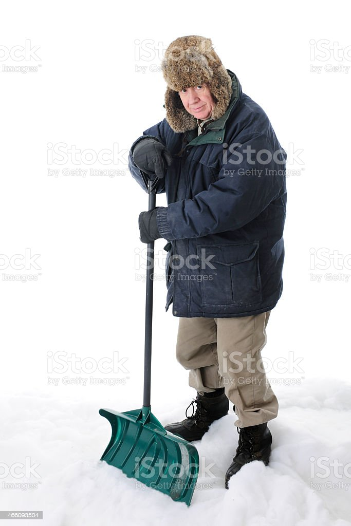 Senior Shoveler stock photo