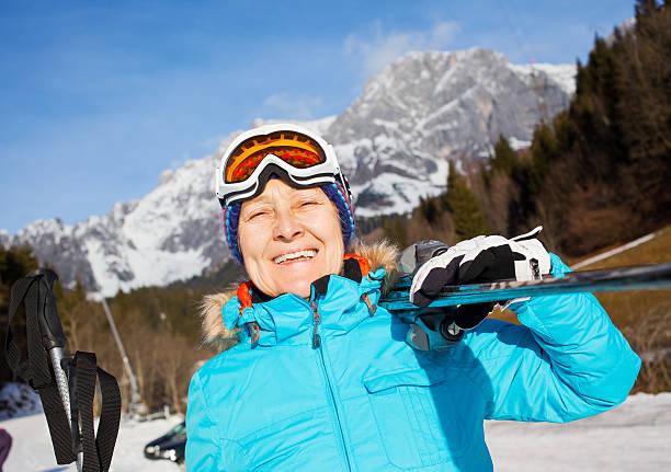 Senior skier woman stock photo