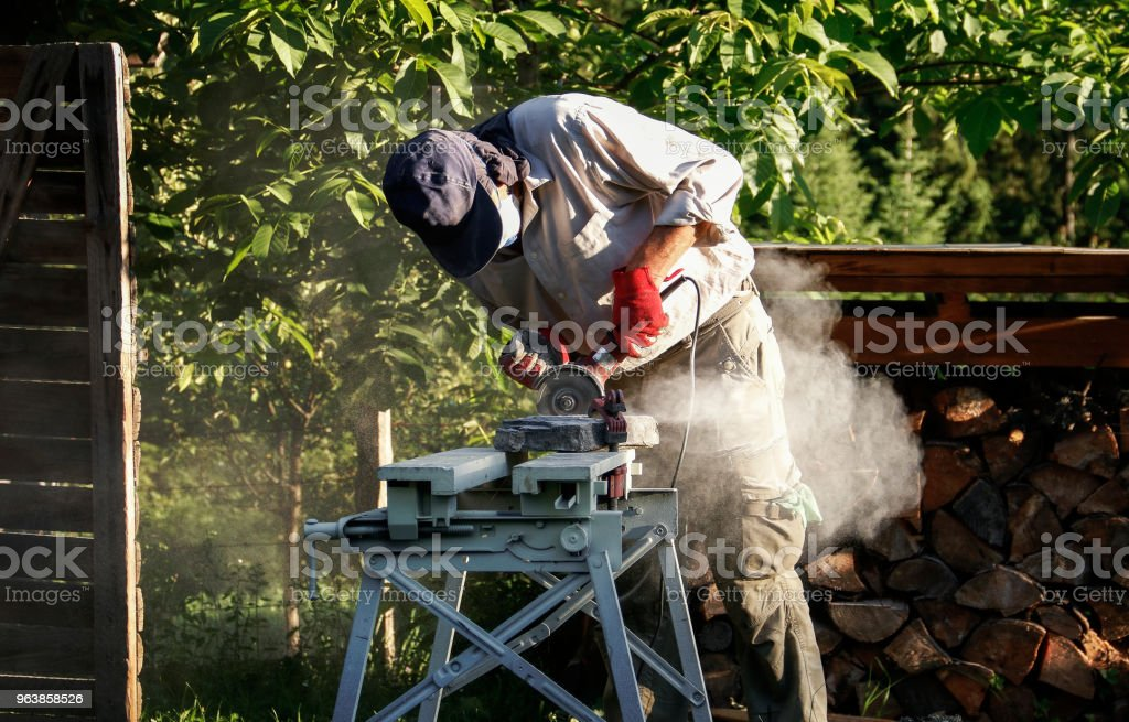 Senior Stonecutter at work - Royalty-free 60-69 Years Stock Photo