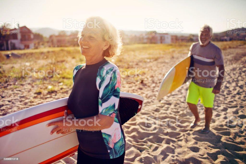 Senior surfers stock photo