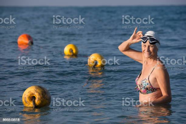 Senior Swimmer Female Stock Photo - Download Image Now
