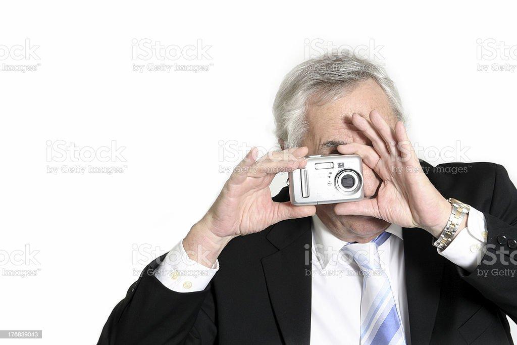 senior taking picture stock photo