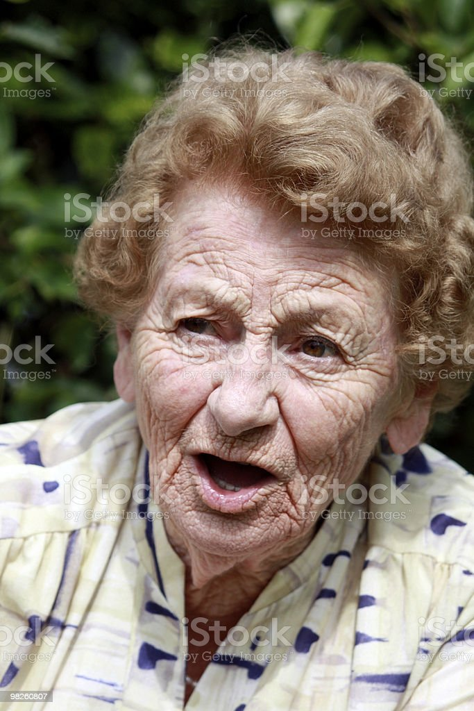 Senior talking royalty-free stock photo