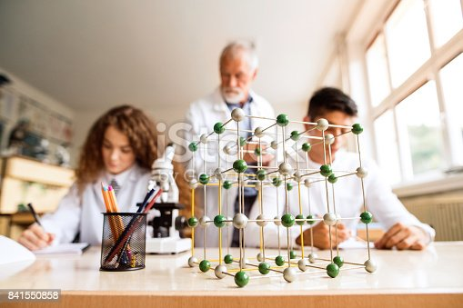 istock Senior teacher teaching biology to high school students in laboratory. 841550858