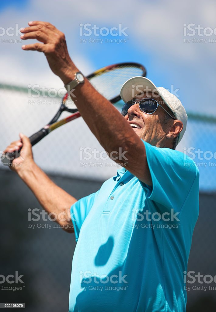 Senior tennis player stock photo
