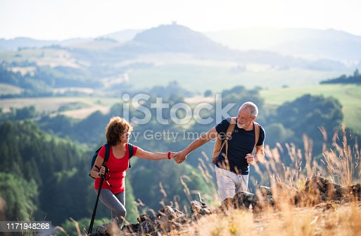 A senior tourist couple with backpacks hiking in nature at sunset, holding hands.