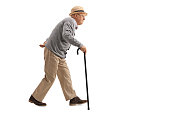 Senior walking with a cane