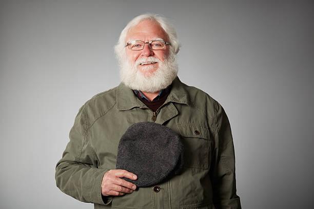 Senior-war veteran Blick in die Kamera Lächeln – Foto