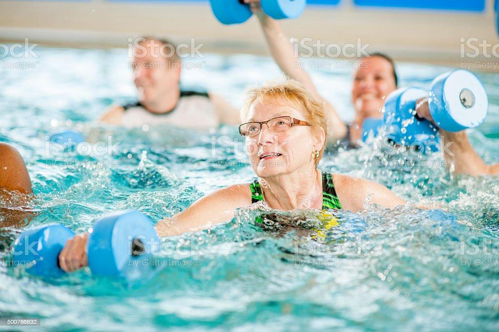 Senior Water Aerobics Class at the Gym stock photo