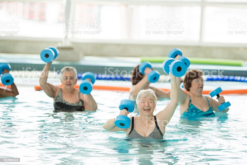 Senior Water Aerobics Class - foto de stock